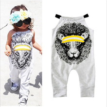 2018 Baby Girl Cotton Clothes Cute Lion Romper Newborn Sling Jumpsuit Summer Clothing