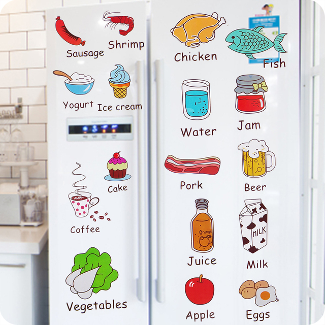 Cartoon Kitchen Refrigerator Door Stickers Decorative Stickers Food Fruit  Removable Wall Sticker stickers On The Wall