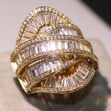 2019 New Arrival Top sprzedaży Vintage biżuteria 925 srebro i złoto wypełnić pełna księżniczka 5A CZ wieczność ślub szeroki pierścień zespołu tanie tanio Moda Pierścionki TRENDY SILVER PLANT Zaręczyny 16mm choucong Nastrój tracker Zespoły weselne Ustawienie ramki Kobiety