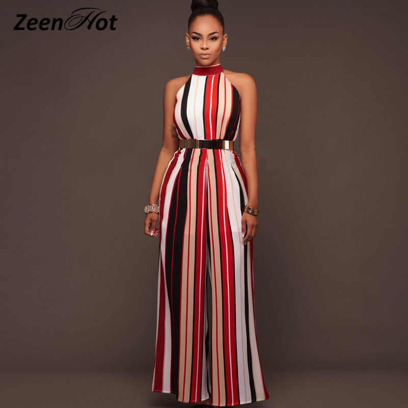 0c4bed1786e4 Women One piece jumpsuit Sexy Sleeveless Halter Lace up Striped straps Wide  leg Siamese pants Summer