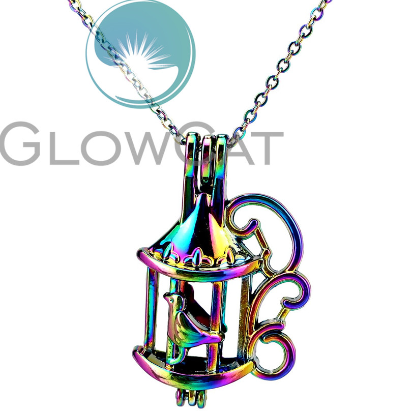 Cc687 Rainbow Color Bird Birdcage Beads Cage Pendant Essential Oil Diffuser Aromatherapy Pearl Cage Locket Necklace Reliable Performance