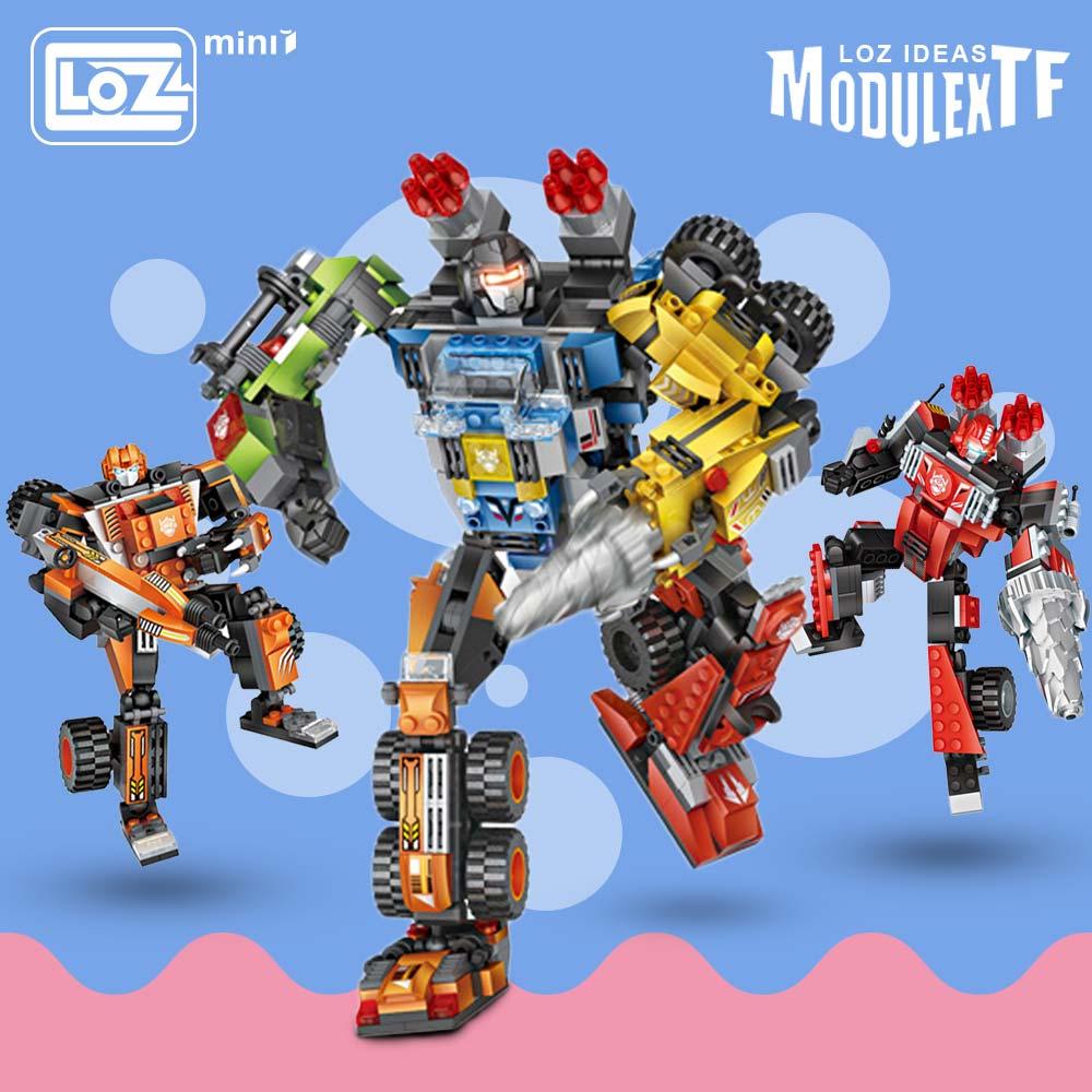 LOZ Mini Blocks Figures Building Blocks Brick Robots Boy Gift Educational Toys for Children Drilling Vehicle Forklift Crane DIY