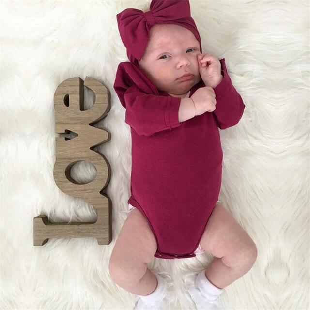 Borgonha Bodysuit Do Bebê Recém-nascido Sopro Macacão de Manga Longa Bebê Meninas Irritar Macacão Infantil Bodysuit Roupas Roupas de Bebê Menina