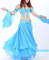 1pcs Lot Free Shipping Belly Dance Wear Sexy Professional Belly Dancing Chiffon SKIRT Blue Rose Red