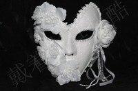 New Handmade white masquerade masks lace floral decor glitter venice mask latex female mask party wedding mask