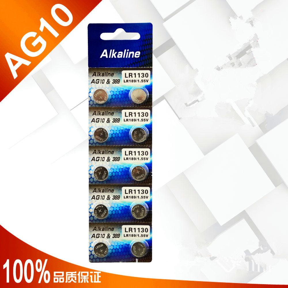 High quality 100pcs AG10 1.5V alkaline Button cell LR1130 SR1130 LR54 SR54 389 G10 calculators Battery watch batteries