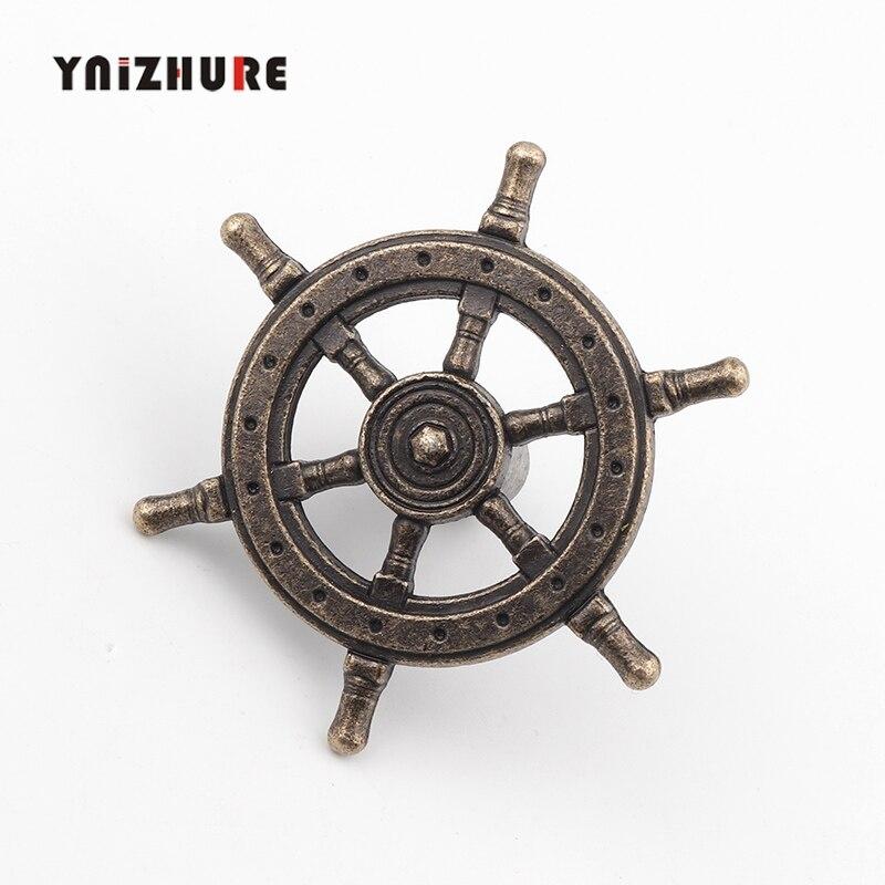 54mm 1PCS Antique Creative Single Hole Knob Captain Rudder Steering Wheel Handles Kitchen Closet Door Pull Handle