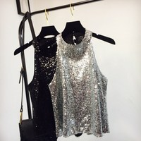 6 Colors Women Sparkle Shine Glitter Sequin Embellished Sleeveless Halter Vest Tank Tops Fashion Moto Style