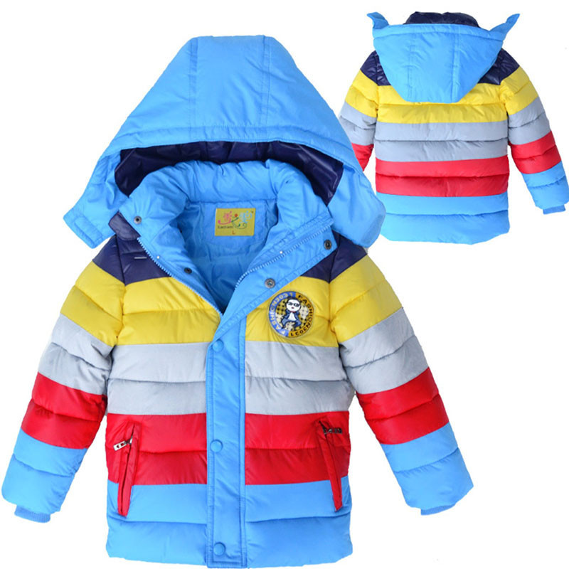 ФОТО New Striped Boys Coats Winter Long Sleeve Thicking Boy Children Wadded Jacket Coats Warm Kids Outwear Down Parka BC070