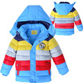 New Striped Boys Coats Winter Long Sleeve Thicking Boy Children Wadded Jacket Coats Warm Kids Outwear Down Parka BC070