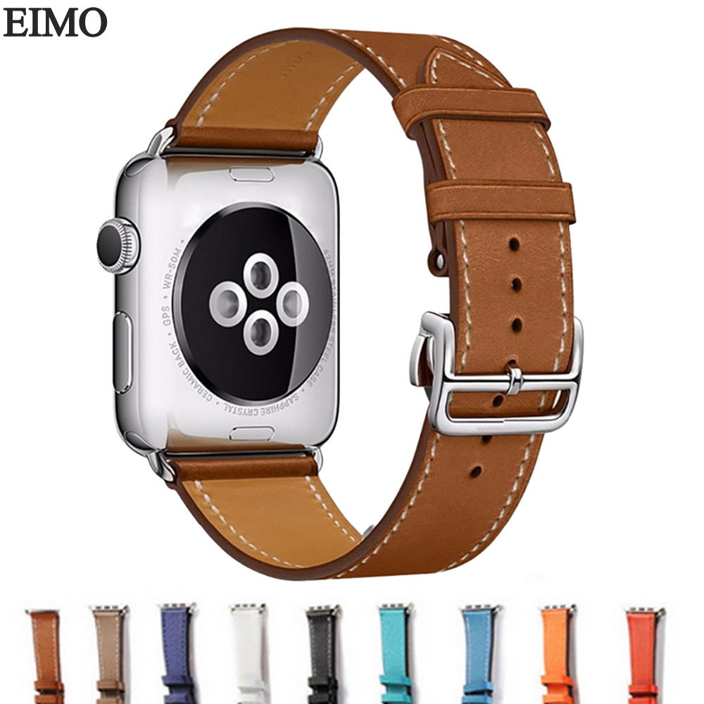 EIMO Leather Strap Band for Apple Watch Band 42mm 38mm iwatch 3/2/1 Metal buckle bracelet wrist watchband for Apple Watch strap crested nylon band strap for apple watch band 3 42mm 38mm survival rope wrist bracelet watch strap for apple iwatch 3 2 1 black