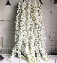 120cm long Artificial Wisteria Flower Vine Silk Hydrangea rattan DIY Wedding birthday party Decoration Wall backdrop flowers(China)