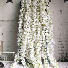 120cm long Artificial Wisteria Flower Vine Silk Hydrangea rattan DIY Wedding bir