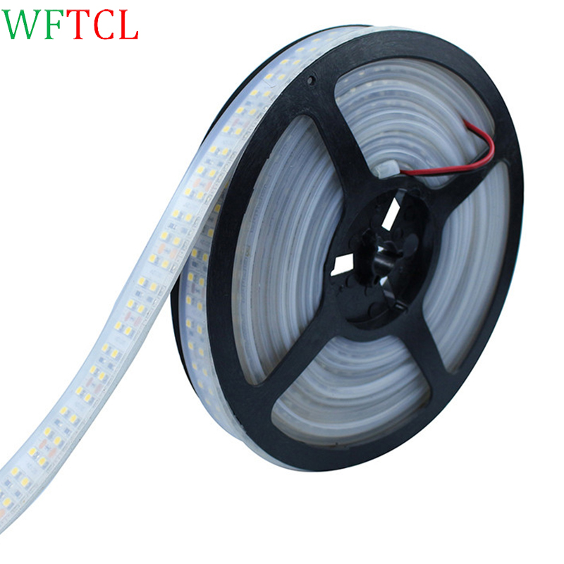 WFTCL Double Row 3528 led strip 1200 leds 5m/lot DC12V IP67 Silicone Tube Waterproof Flexible LED ribbon Light White /Warm white