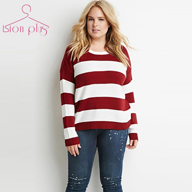 pullover sweater women plus size 6xl 5xl 2017 Spring Striped Red White Hit  Color Long Sleeve Sweaters O-Neck New Casual Clothes a158a14d1