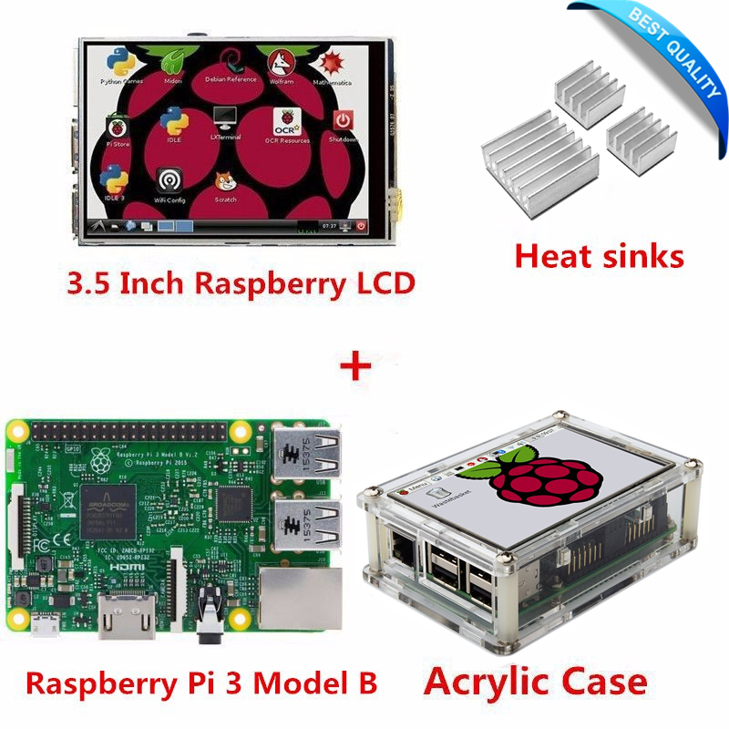 ФОТО Raspberry Pi 3 Model B Board + 3.5 Inch TFT LCD USB Touch Screen Display + Acrylic Case + Heat sinks For Raspbery Pi 3 orange pi