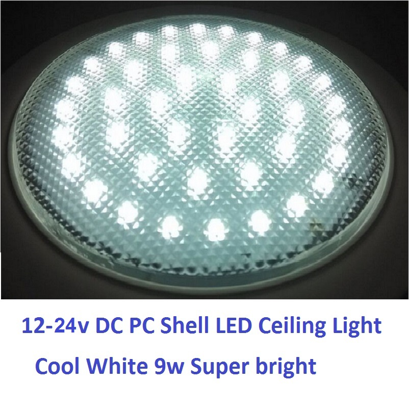 12v 24v Dc 220mm Cold White Led Dome Light Pc Shell Ceiling Lamp Caravan Camper Trailer Rv