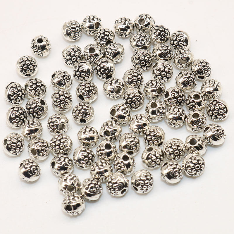 100 Stücke Versilbert Spacer Lose Perlen Material Tibetischen Silber Perlen Handmade Für Charme Perlen Schmuck Machen 5mm