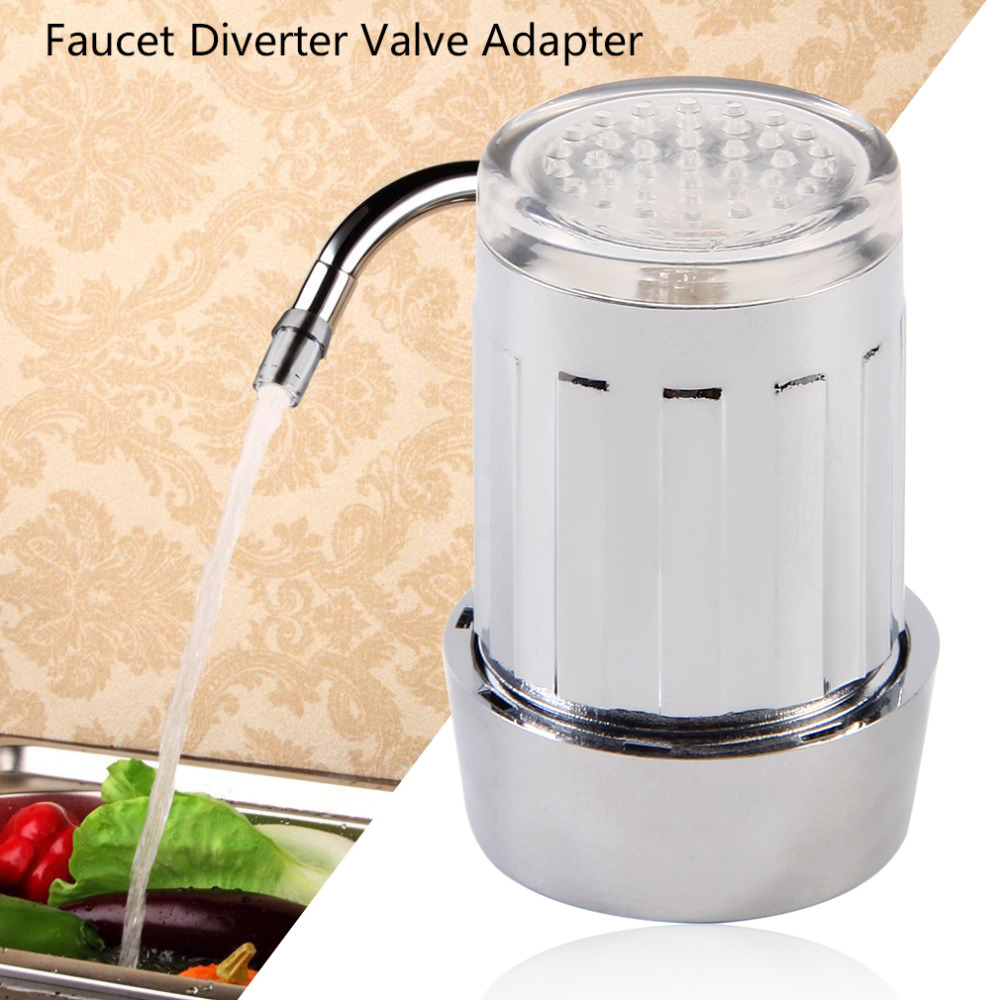 7 Colors Unique LED Light Water Glow Faucet Tap Stainless Steel Water Tap + Faucet Diverter Valve Adapter Connector