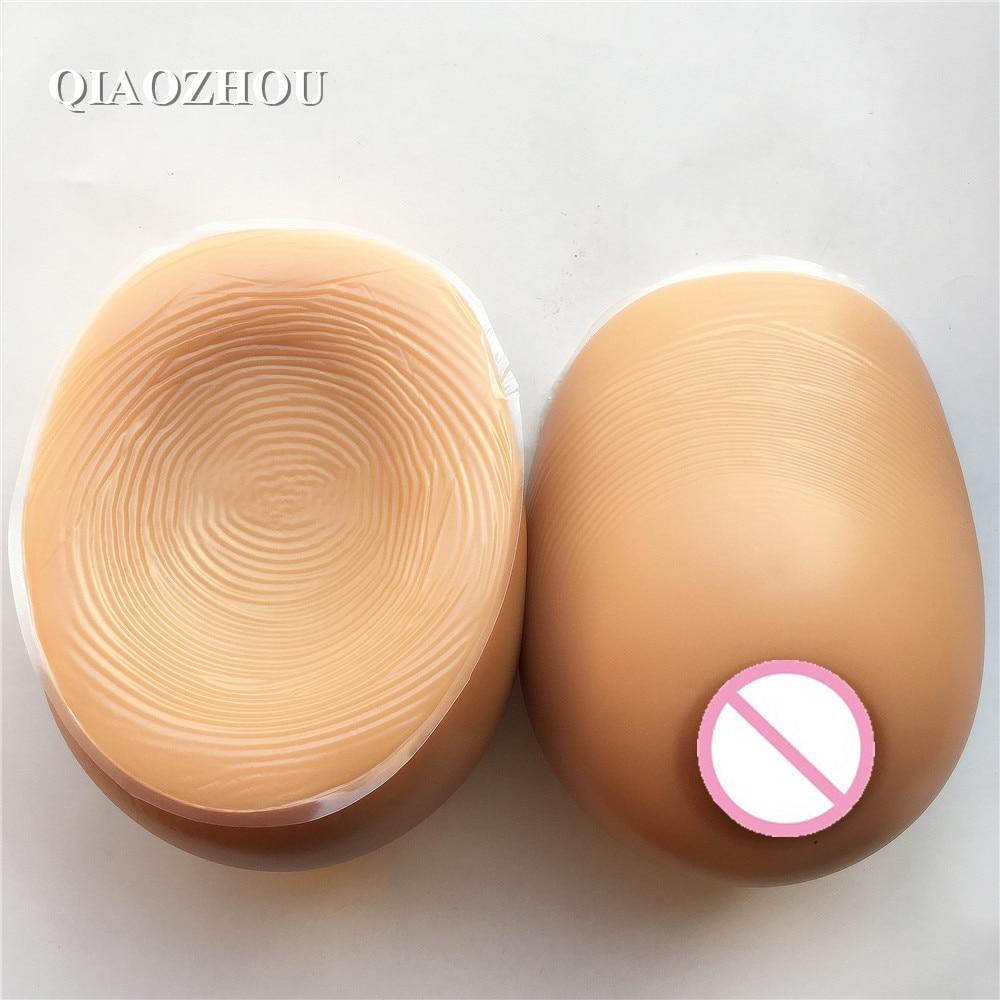 crossdresser big breasts 1400 g 90D E silicone tear drop realistic breast forms full soft tan skin brown color