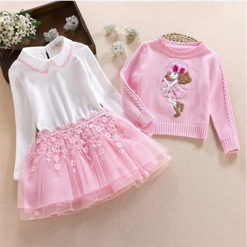 Kids Dresses For Girls Clothes 2018 Autumn Winter Girls Pullover Knitted Sweaters Dress Princess Children Dress + Top 2Pcs Sets korea lace knitted sweaters warm dresses winter baby wear clothes girls clothing sets children dress child clothing kids costume