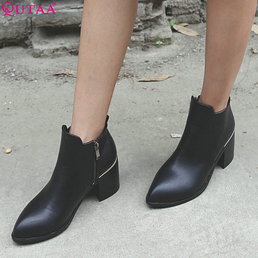 QUTAA 2019 Women Ankle Boots Fashion Women Shoes Zipper Square High Heel Winter Boots Fashion Black
