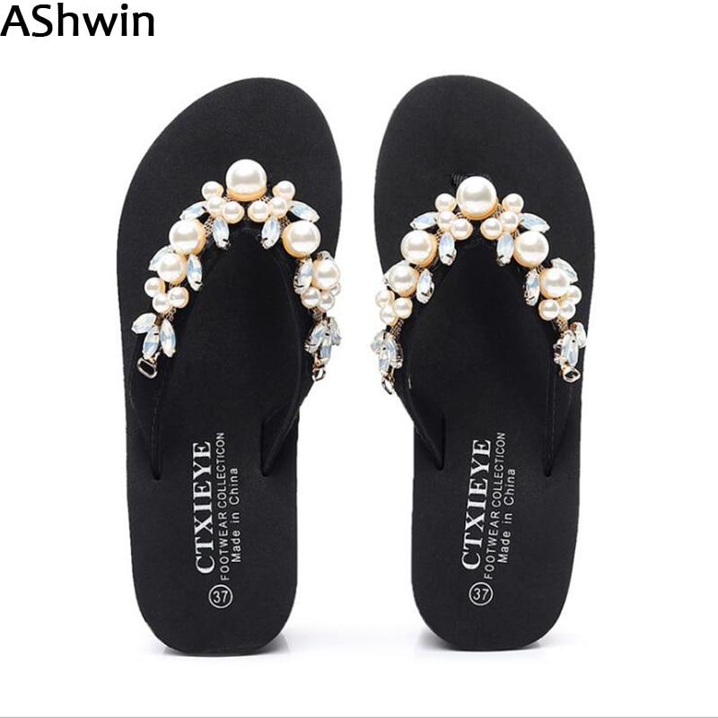 Women Summer Rhinestone Bohemia Shiny Pearl Flip Flops Sandals Girls Casual New