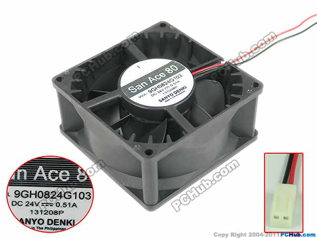 SANYO 9GH0824G103 DC 24V 0.51A Server Square fan 80x80x38mm