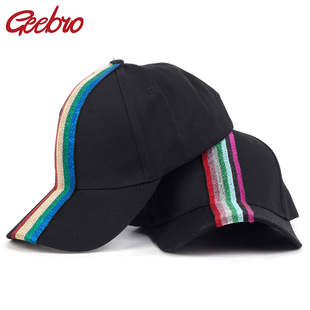 Geebro Fashion Casual Colorful Ribbon Cotton Baseball Caps For Woman Girls Solid Color Adjustable Hats Hip Hop Sport Fitted Caps