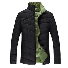 Free shipping 2017 Parka For Men Extra Large Size Cotton Coats Thick Warm Stand Collar Casual Jacket Three Colors