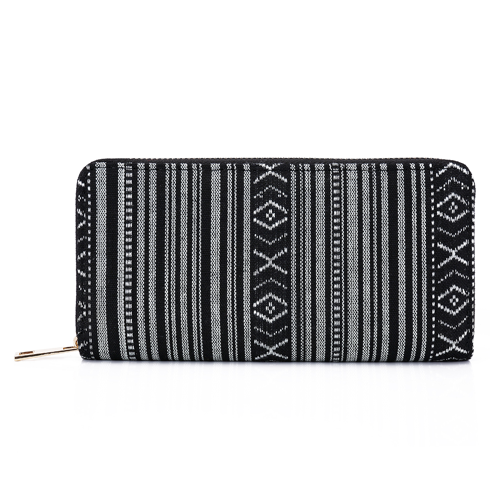 SANSARYA 2018 New Boho Aztec Hippie Tribal Ethnic Black Indian Thai Woven Women Wallets with Copper Zipper Ladies Clutch Purse free shipping vintage hmong tribal ethnic thai indian boho shoulder bag message bag pu leather handmade embroidery tapestry 1018