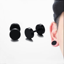 d689f8000 Black Screw Stud Earrings for Men Women Stainless Steel Cheater Fake Ear  Plugs Gauges Illusion Tunnel Earing Unisex Jewelry