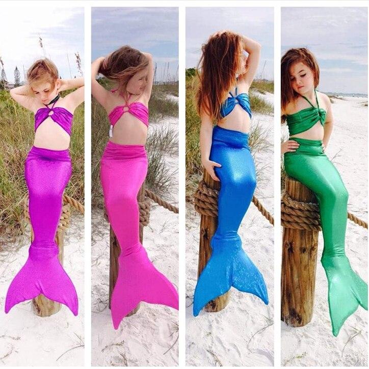 Kids Girl Mermaid Tail Costume for Swimming Monofin Capable Sea-maid Fantasia Ariel Princess Bikini Swimsuit Children Dress