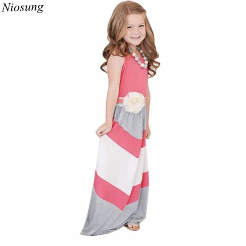 ΞNiosung nuevo bebé Niñas hija rayas costura sin mangas vestido ...
