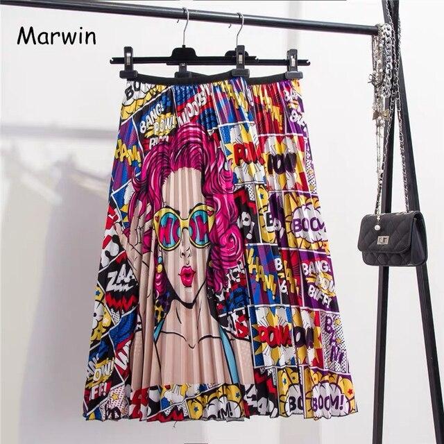 Marwin 2019 New-Đến Mùa Xuân Mùa Hè In Ấn Phim Hoạt Hình Mô Hình Empire Cao Đàn Hồi Phụ Nữ Váy Đảng Sạn Holiday phong cách Đường Phố Cao