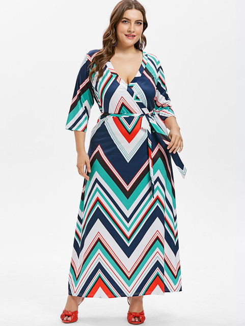 Kenancy Plus Size Belted Zigzag Maxi Dress Plunging Surplice Dress A