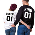 Women Men Sport Sweaters 2016 New Couples Hockey Hoodie Hoodies for Women with King Queen 01 Crown Usa Hockey Jersey Sweatshirt