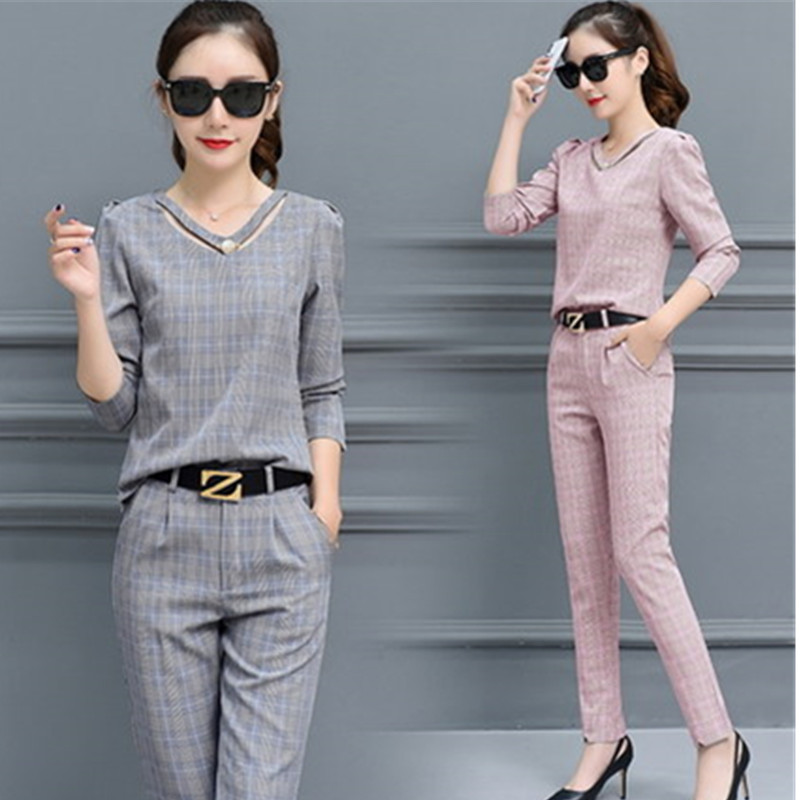 643cc05c6 2019 Fashion Female clothing Long sleeve lattice two piece set top and  pants autumn New slim