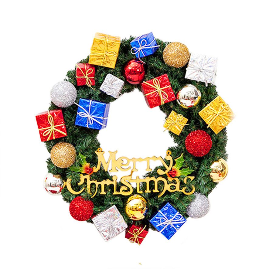 zero merry christmas party poinsettia pine wreath door wall garland decoration b7725 - Christmas Poinsettia