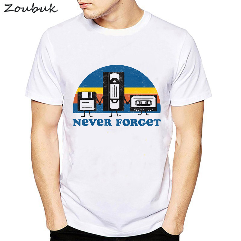 2018 new T-shirts Men women Short Sleeve Never Forget Floppy Disc VHS Cassette Tech Geek Print T Shirts Male camisetas Tshirts