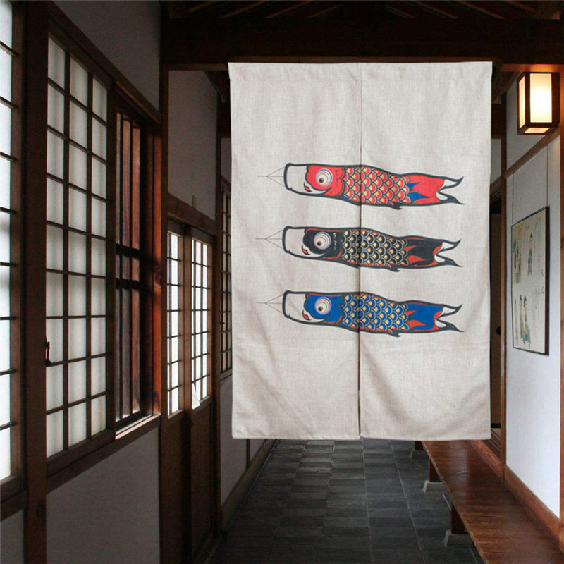 Buy carp japanese room divider kitchen decoraive door curtains linen cotton - Curtain for kitchen door ...