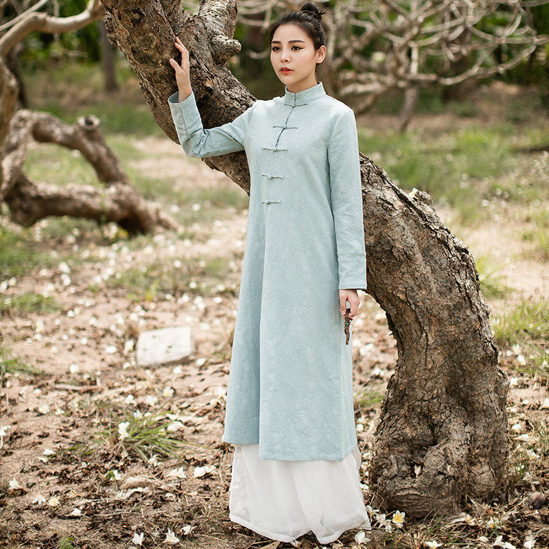 Cotton Linen Made long sleeved dress Spring autumn Chinese folk style Retro Womens Pankou tea service Party Waitress cheongsam in Sets from Novelty Special Use