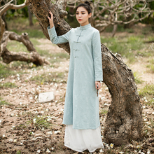 Cotton Linen Made long sleeved dress Spring autumn Chinese folk style Retro Womens Pankou tea service Party Waitress cheongsam