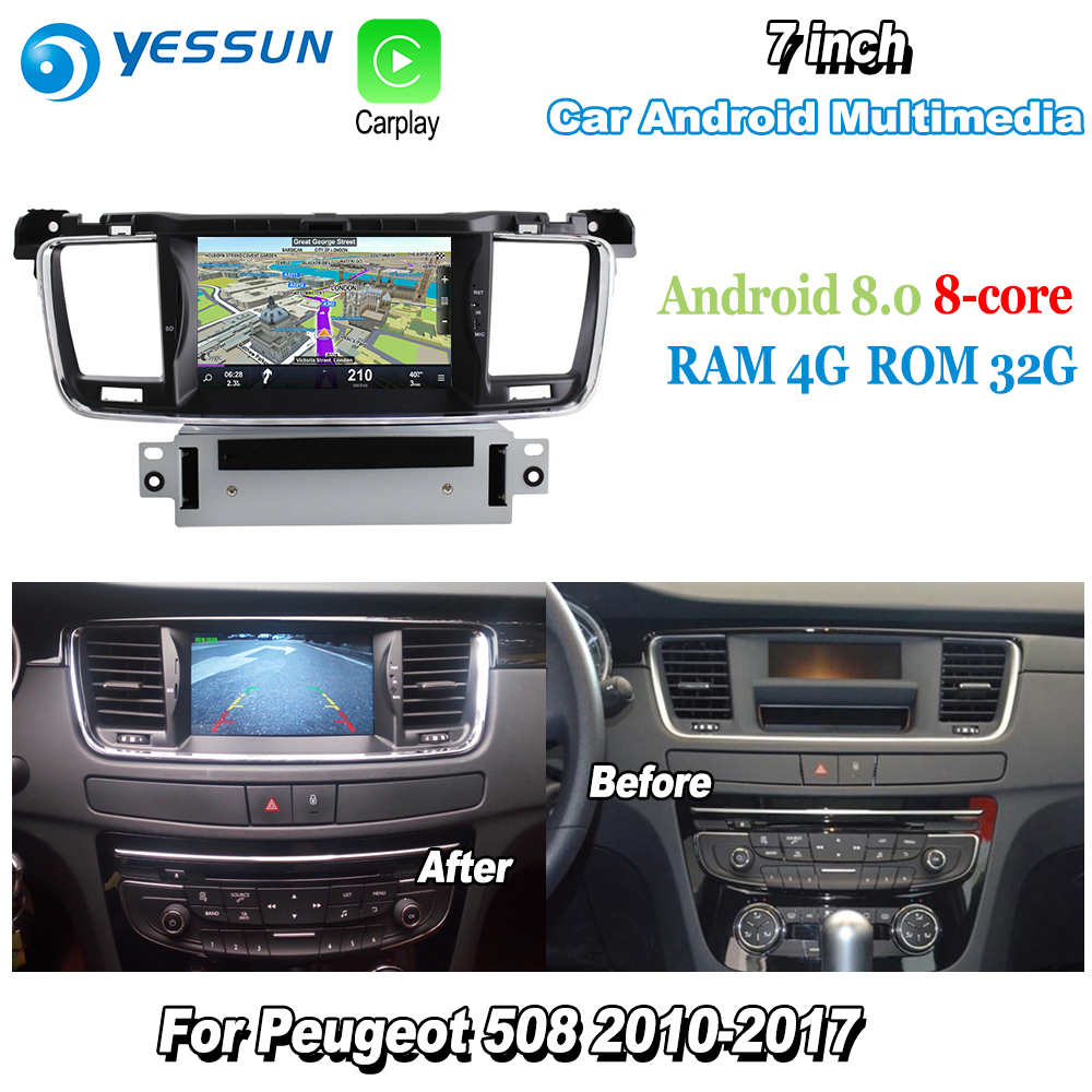 цены YESSUN For Peugeot 508 2010~2017 Car Android Carplay GPS Navi maps Navigation CD DVD Player Radio Stereo Multimedia BT HD Screen