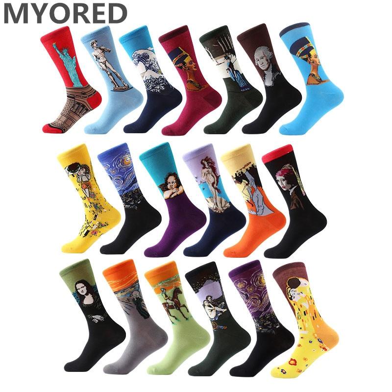 MYORED 1 pair Dropshipping men women socks cotton starry night art world famous oil painting socks unisex funny novelty socks