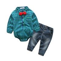 Hot Bé Boy Quần Áo Bộ rompers Quý Ông + quần Phù Hợp Với Dài Tay Áo Kids Boy Quần Áo Bộ trẻ em quần áo