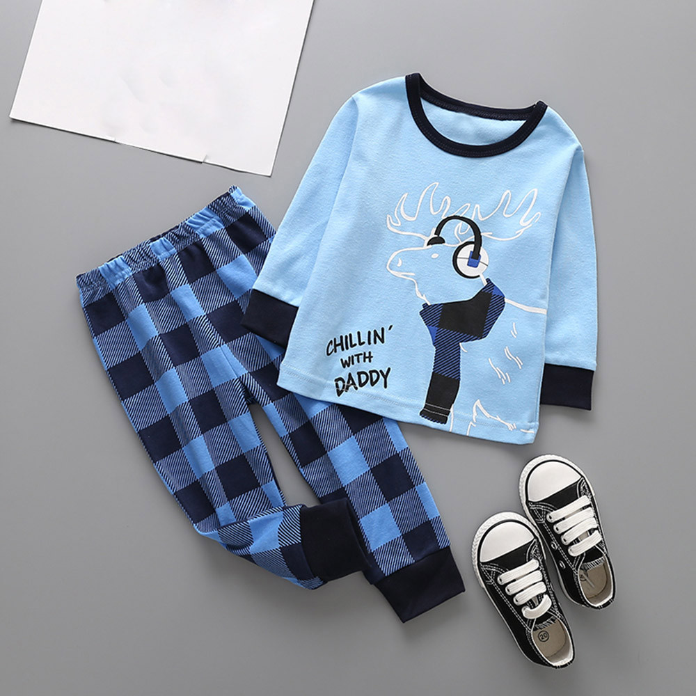 2pcs baby kids BOYS girls clothes daily spring outfits top+rompers overall deer