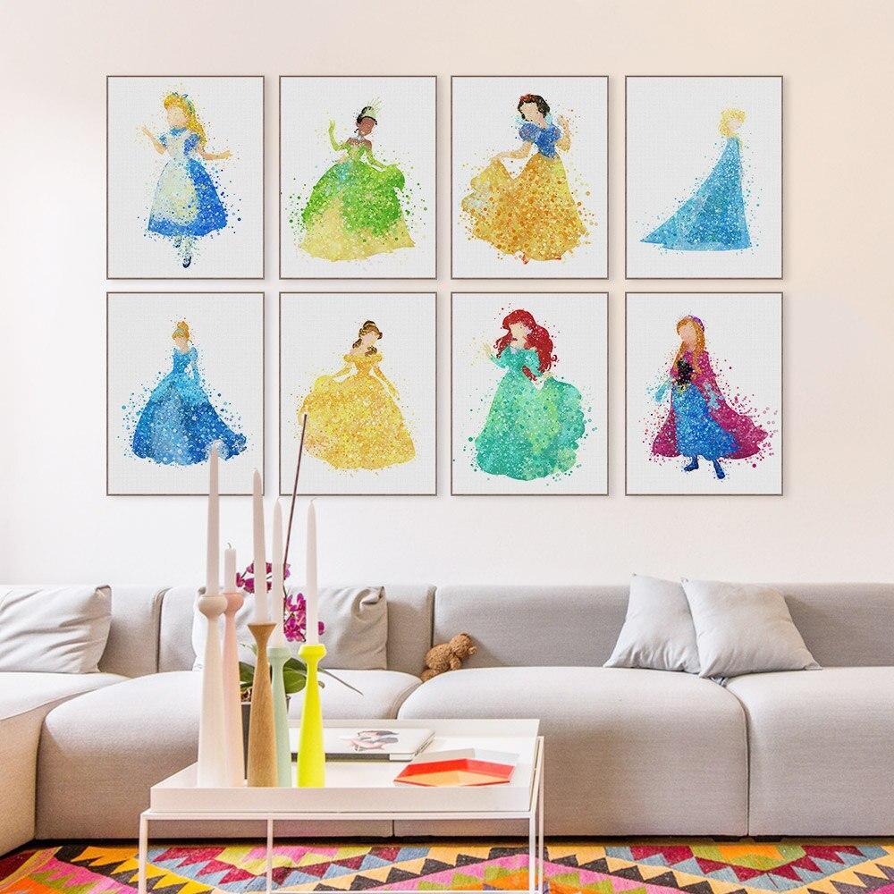 €1.71 38% de réduction|Moderne princesse cendrillon neige dessin animé Pop  film toile affiche impression mur Art fille enfants chambre décor peinture  ...