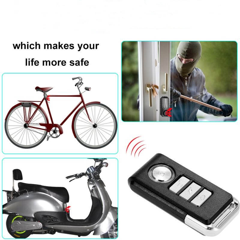Remote-Control-Alarm-Sensor Bicycle Anti-Theft-Alarm Wireles Door/window-Vibration-Alarm title=