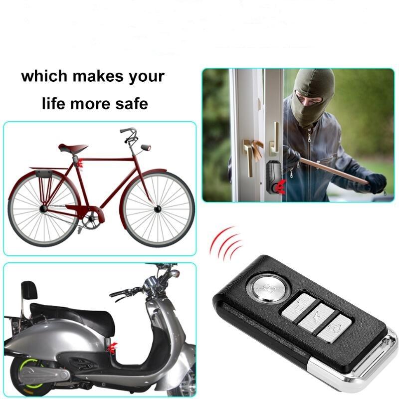 Anti-theft Alarm  Bicycle 113dB Loud Wireles Waterproof Door/ Window Vibration Alarm Intelligent Remote Control Alarm Sensor Hot